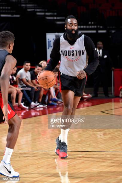 James Harden of the Houston Rockets handles the ball during the team's annual Fan Fest event on October 7 2017 at the Toyota Center in Houston Texas...