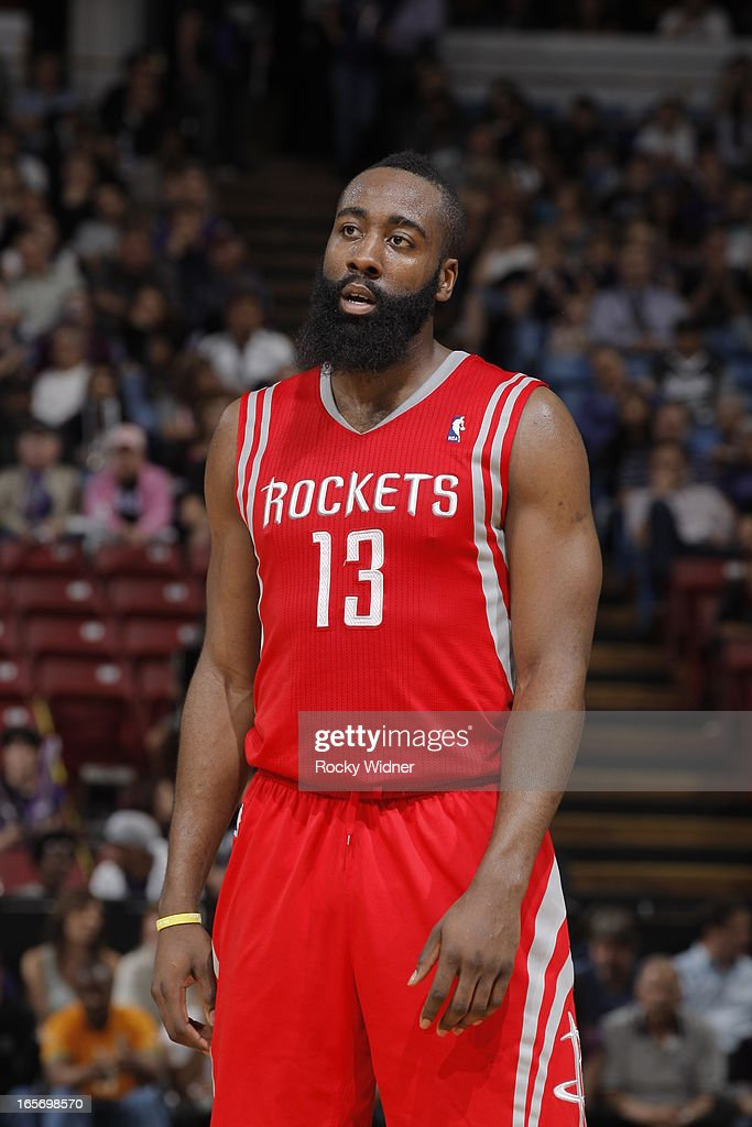 <a gi-track='captionPersonalityLinkClicked' href=/galleries/search?phrase=James+Harden&family=editorial&specificpeople=4215938 ng-click='$event.stopPropagation()'>James Harden</a> #13 of the Houston Rockets in a game against the Sacramento Kings on April 3, 2013 at Sleep Train Arena in Sacramento, California.