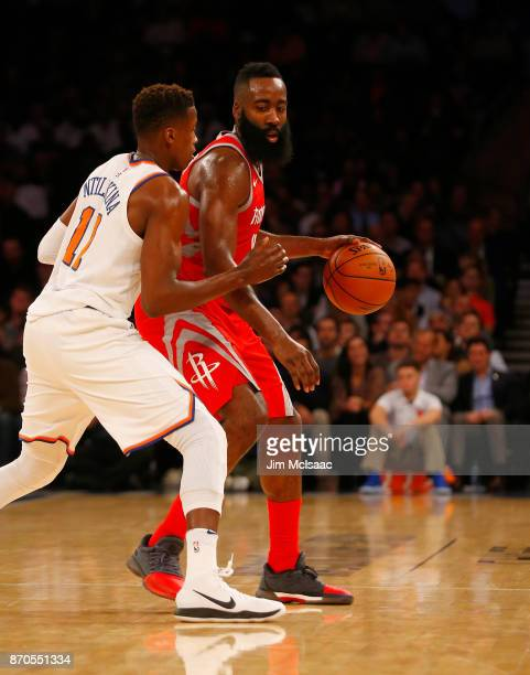 James Harden of the Houston Rockets in action against Frank Ntilikina of the New York Knicks at Madison Square Garden on November 1 2017 in New York...