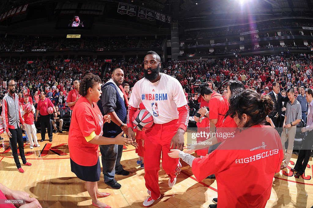 <a gi-track='captionPersonalityLinkClicked' href=/galleries/search?phrase=James+Harden&family=editorial&specificpeople=4215938 ng-click='$event.stopPropagation()'>James Harden</a> #13 of the Houston Rockets is announced before the game against the Cleveland Cavaliers on February 1, 2014 at the Toyota Center in Houston, Texas.