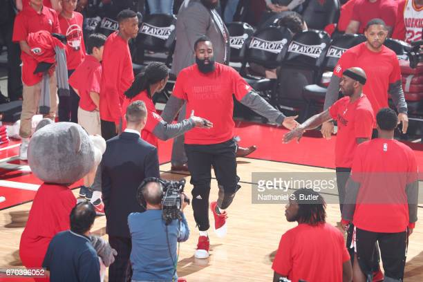 James Harden of the Houston Rockets is introduced before Game Two of the Western Conference Quarterfinals of the 2017 NBA Playoffs on April 19 2017...