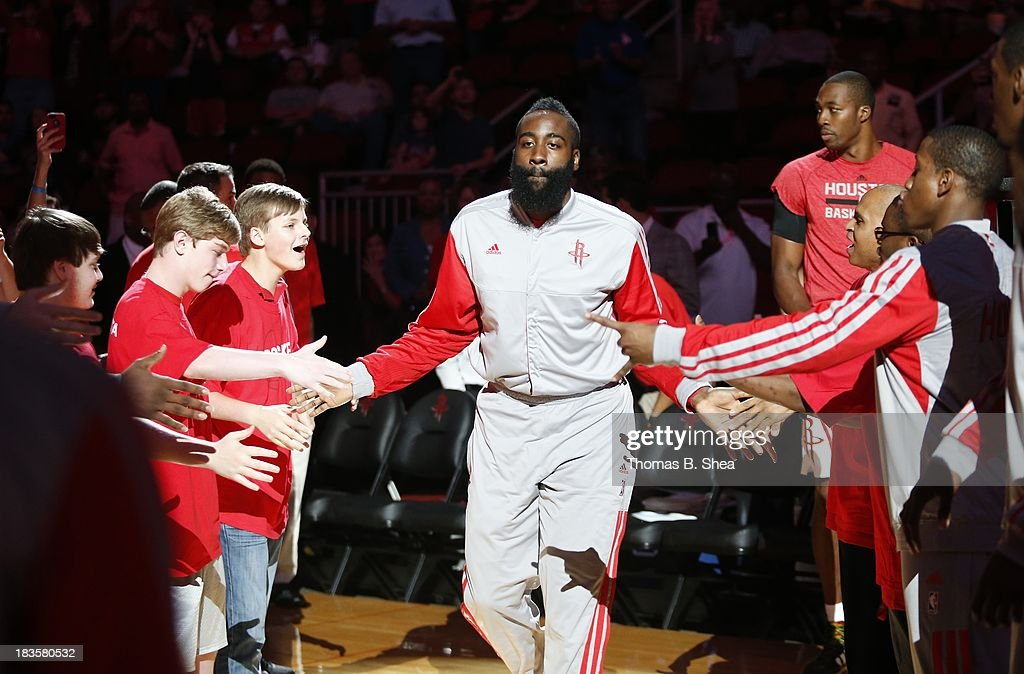 James Harden #13 of the Houston Rockets is introduced before playing against the New Orleans Pelicans in a preseason NBA game on October 5, 2013 at Toyota Center in Houston, Texas. The Pelicans won 116 to 115.
