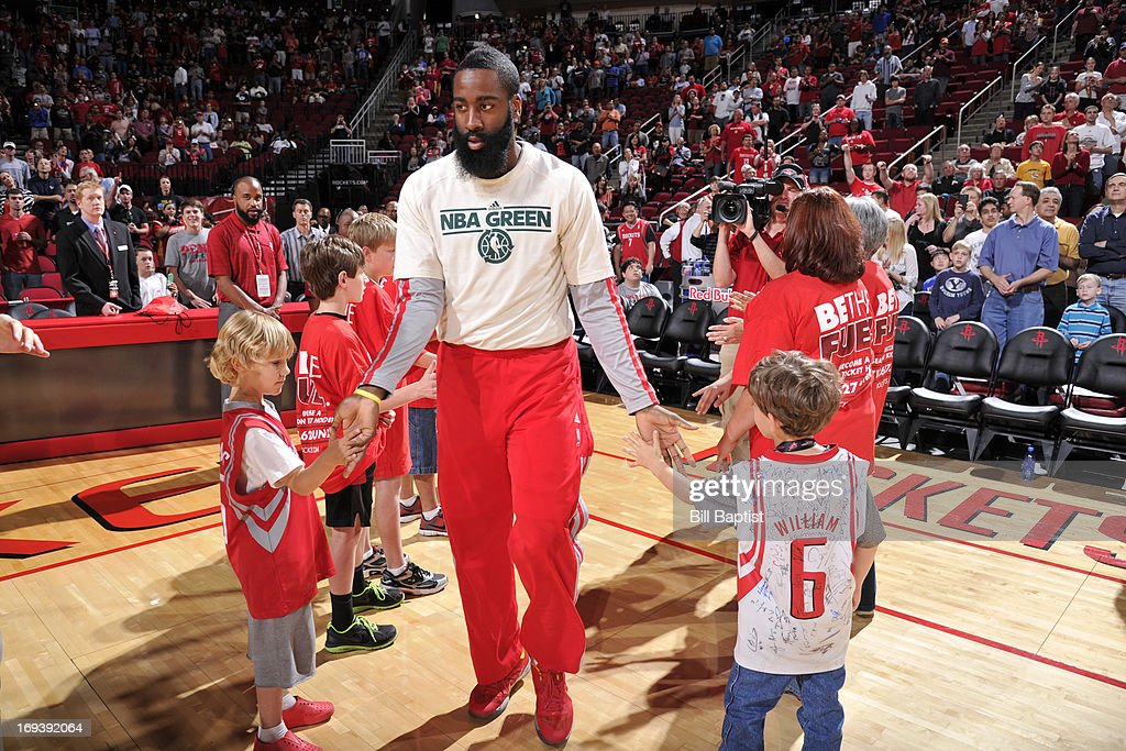 <a gi-track='captionPersonalityLinkClicked' href=/galleries/search?phrase=James+Harden&family=editorial&specificpeople=4215938 ng-click='$event.stopPropagation()'>James Harden</a> #13 of the Houston Rockets is introduced before the game against the Memphis Grizzlies on April 12, 2013 at the Toyota Center in Houston, Texas.