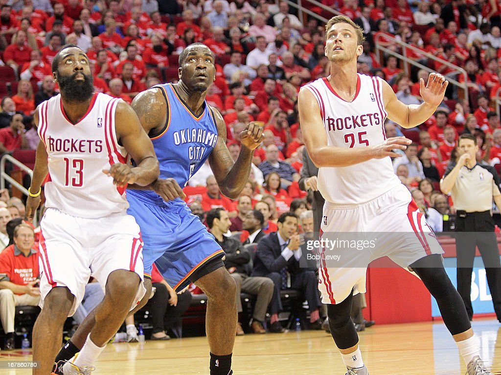 James Harden #13 of the Houston Rockets, Kendrick Perkins #5 of the Oklahoma City Thunder and Chandler Parsons #25 of the Houston Rockets look for a rebound on a free throw attempt during Game Four of the Western Conference Quarterfinals of the 2013 NBA Playoffs at the Toyota Center on April 29, 2013 in Houston, Texas.