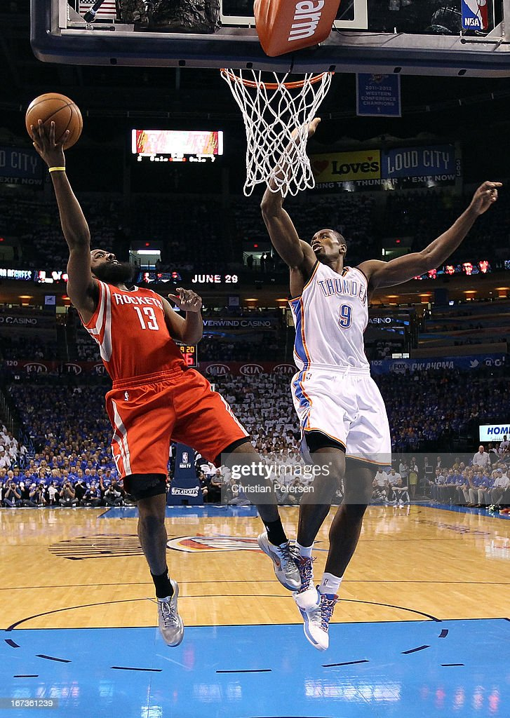 James Harden #13 of the Houston Rockets lays up a shot past Serge Ibaka #9 of the Oklahoma City Thunder during the first half of Game Two of the Western Conference Quarterfinals of the 2013 NBA Playoffs at Chesapeake Energy Arena on April 24, 2013 in Oklahoma City, Oklahoma.