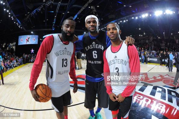 James Harden of the Houston Rockets LeBron James of the Miami Heat and Chris Paul of the Los Angeles Clippers pose for a picture during the NBA...