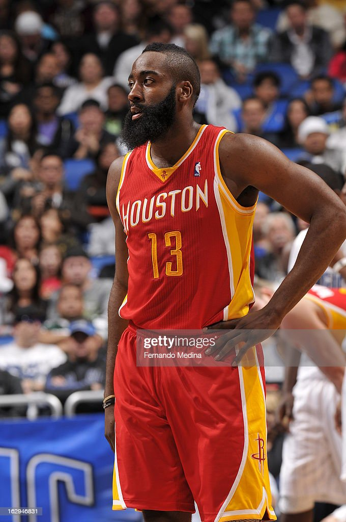 James Harden #13 of the Houston Rockets looks into the crowd against the Orlando Magic during the game on March 1, 2013 at Amway Center in Orlando, Florida.
