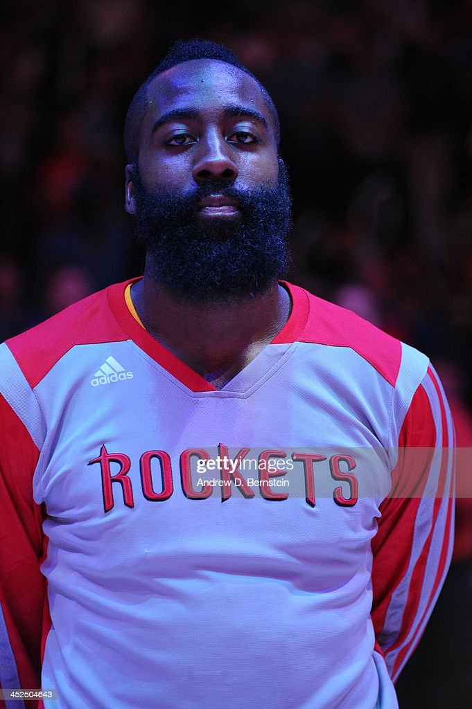 <a gi-track='captionPersonalityLinkClicked' href=/galleries/search?phrase=James+Harden&family=editorial&specificpeople=4215938 ng-click='$event.stopPropagation()'>James Harden</a> #13 of the Houston Rockets looks on against the Los Angeles Clippers at Staples Center on November 4, 2013 in Los Angeles, California.