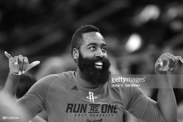 James Harden of the Houston Rockets looks on before the game against the San Antonio Spurs during Game Five of the Western Conference Semifinals of...