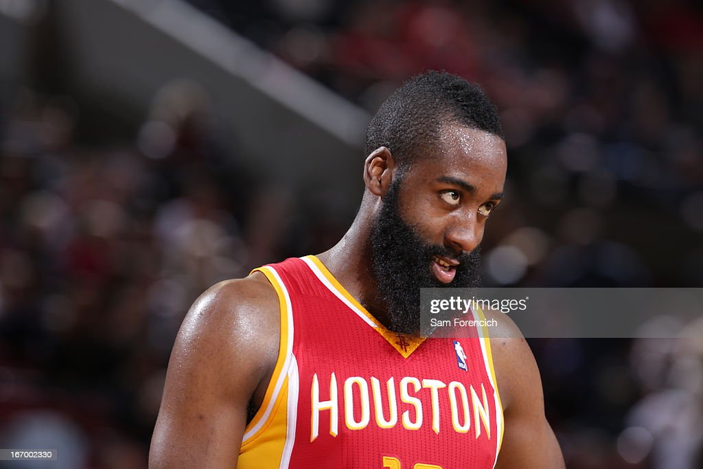 <a gi-track='captionPersonalityLinkClicked' href=/galleries/search?phrase=James+Harden&family=editorial&specificpeople=4215938 ng-click='$event.stopPropagation()'>James Harden</a> #13 of the Houston Rockets looks on during the game against the Portland Trail Blazers on April 5, 2013 at the Rose Garden Arena in Portland, Oregon.