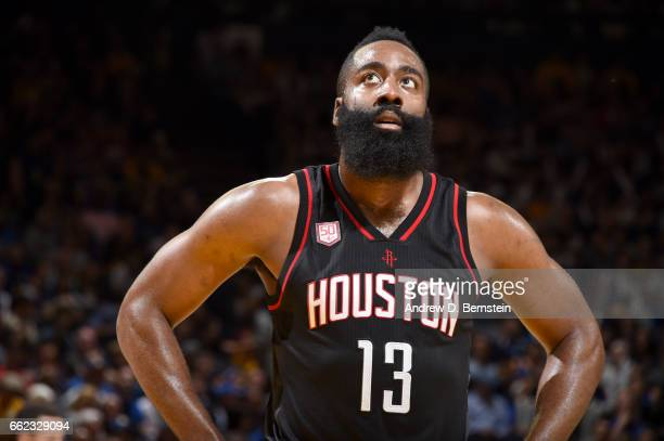 James Harden of the Houston Rockets looks on during the game against the Golden State Warriors on March 31 2017 at ORACLE Arena in Oakland California...