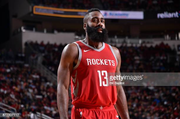 James Harden of the Houston Rockets looks on during the game against the Cleveland Cavaliers on NOVEMBER 9 2017 at the Toyota Center in Houston Texas...