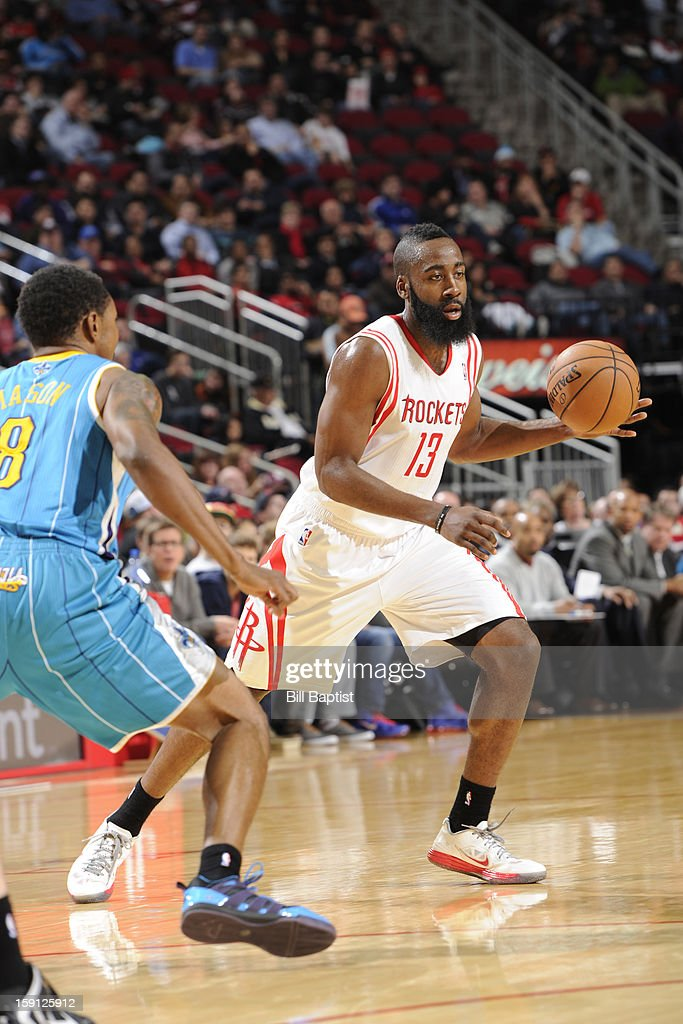 <a gi-track='captionPersonalityLinkClicked' href=/galleries/search?phrase=James+Harden&family=editorial&specificpeople=4215938 ng-click='$event.stopPropagation()'>James Harden</a> #13 of the Houston Rockets looks to drive to the basket against the New Orleans Hornets on January 2, 2013 at the Toyota Center in Houston, Texas.