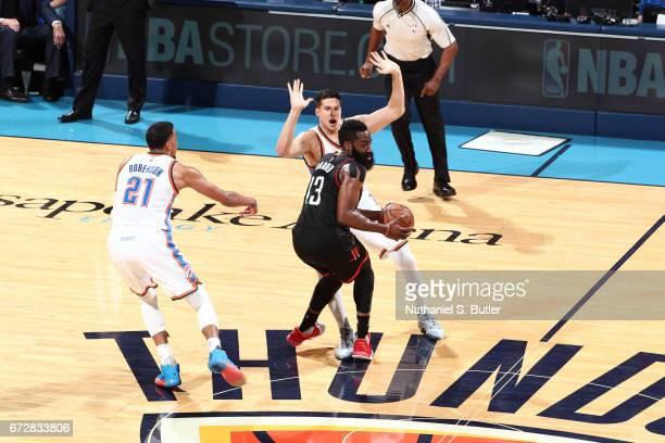 James Harden of the Houston Rockets looks to pass the ball during Game Three of the Western Conference Quarterfinals against the Oklahoma City...