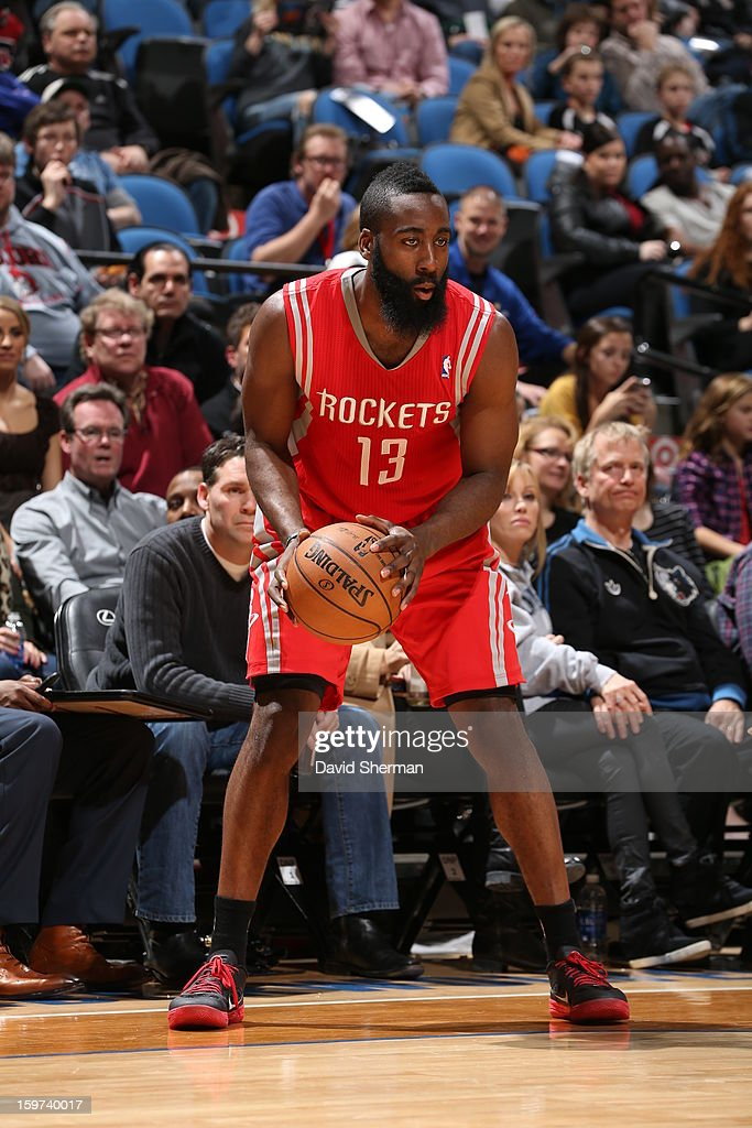 James Harden #13 of the Houston Rockets looks to score against the Minnesota Timberwolves during the game on January 19, 2013 at Target Center in Minneapolis, Minnesota.