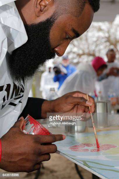 James Harden of the Houston Rockets participate during the NBA Cares Day of Service as part of 2017 AllStar Weekend at the KaBOOM Rebuilding Together...