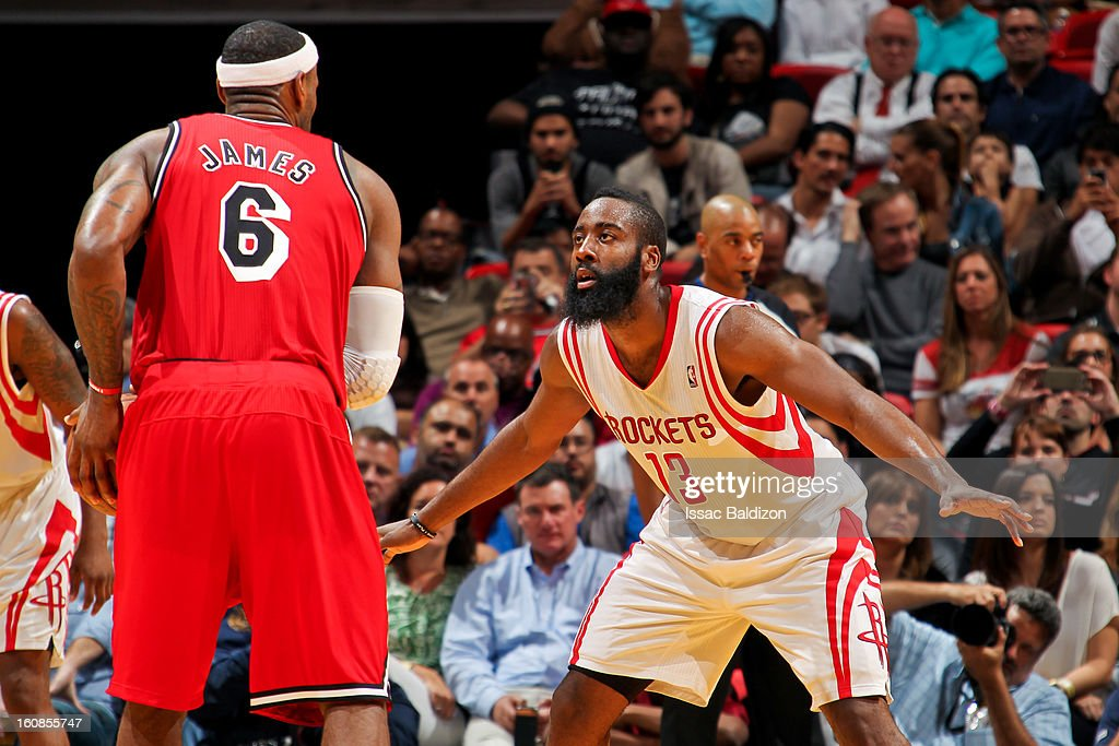 <a gi-track='captionPersonalityLinkClicked' href=/galleries/search?phrase=James+Harden&family=editorial&specificpeople=4215938 ng-click='$event.stopPropagation()'>James Harden</a> #13 of the Houston Rockets plays defense against <a gi-track='captionPersonalityLinkClicked' href=/galleries/search?phrase=LeBron+James&family=editorial&specificpeople=201474 ng-click='$event.stopPropagation()'>LeBron James</a> #6 of the Miami Heat on February 6, 2013 at American Airlines Arena in Miami, Florida.