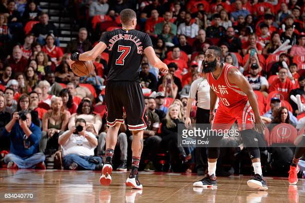 James Harden of the Houston Rockets plays defense against Michael CarterWilliams of the Chicago Bulls during the game on February 3 2017 at the...