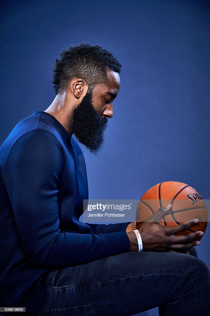 <a gi-track='captionPersonalityLinkClicked' href=/galleries/search?phrase=James+Harden&family=editorial&specificpeople=4215938 ng-click='$event.stopPropagation()'>James Harden</a> #13 of the Houston Rockets poses for a portrait during NBA All-Star Weekend on February 12, 2016 at the Sheraton Centre in Toronto, Ontario Canada.