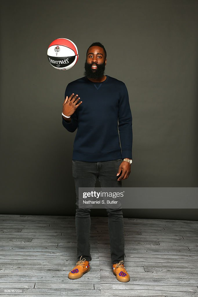 James Harden #13 of the Houston Rockets poses for a portrait on February 11, 2016 at the Sheraton Centre as part of 2016 NBA All-Star Weekend in Toronto, Ontario Canada.