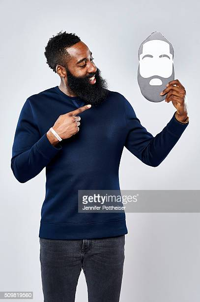 James Harden of the Houston Rockets poses for a portrait with the twitter emoji during NBA AllStar Weekend on February 12 2016 at the Sheraton Centre...