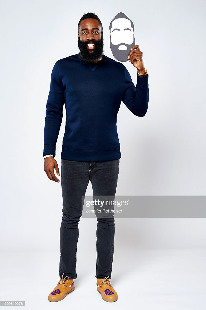 <a gi-track='captionPersonalityLinkClicked' href=/galleries/search?phrase=James+Harden&family=editorial&specificpeople=4215938 ng-click='$event.stopPropagation()'>James Harden</a> #13 of the Houston Rockets poses for a portrait with the twitter emoji during NBA All-Star Weekend on February 12, 2016 at the Sheraton Centre in Toronto, Ontario Canada.