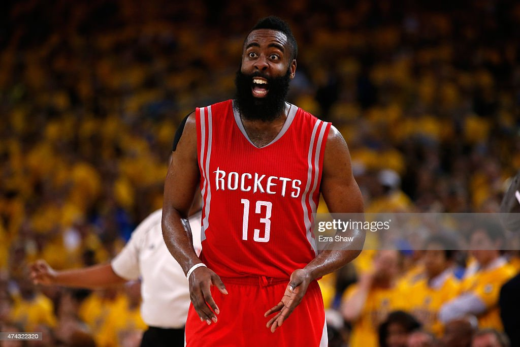 <a gi-track='captionPersonalityLinkClicked' href=/galleries/search?phrase=James+Harden&family=editorial&specificpeople=4215938 ng-click='$event.stopPropagation()'>James Harden</a> #13 of the Houston Rockets reacts after a play in the fourth quarter against the Golden State Warriors during game two of the Western Conference Finals of the 2015 NBA PLayoffs at ORACLE Arena on May 21, 2015 in Oakland, California.