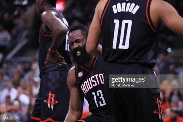 James Harden of the Houston Rockets reacts after fouled by Pau Gasol of the San Antonio Spurs in the first quarter during Game Five of the Western...