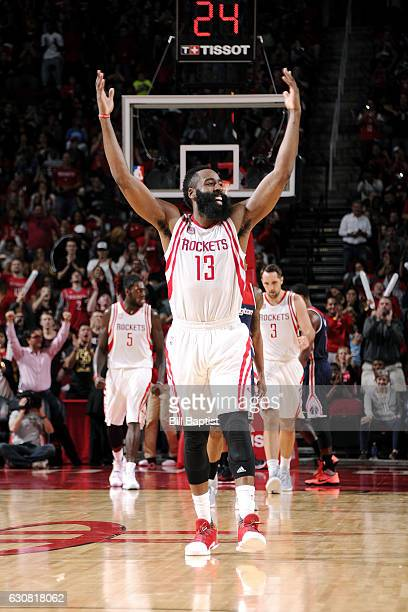 James Harden of the Houston Rockets reacts after getting his 9th TripleDouble during the game against the Washington Wizards on January 2 2017 at the...