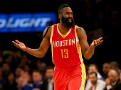 James Harden of the Houston Rockets reacts after no foul was called against the New York Knicks at Madison Square Garden on January 8 2015 in New...