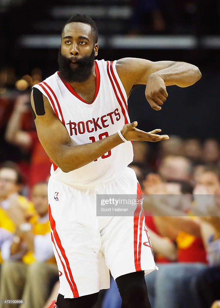 <a gi-track='captionPersonalityLinkClicked' href=/galleries/search?phrase=James+Harden&family=editorial&specificpeople=4215938 ng-click='$event.stopPropagation()'>James Harden</a> #13 of the Houston Rockets reacts after scoring against the Los Angeles Clippers during Game Five of the Western Conference Semifinals at the Toyota Center for the 2015 NBA Playoffs on May 12, 2015 in Houston, Texas.
