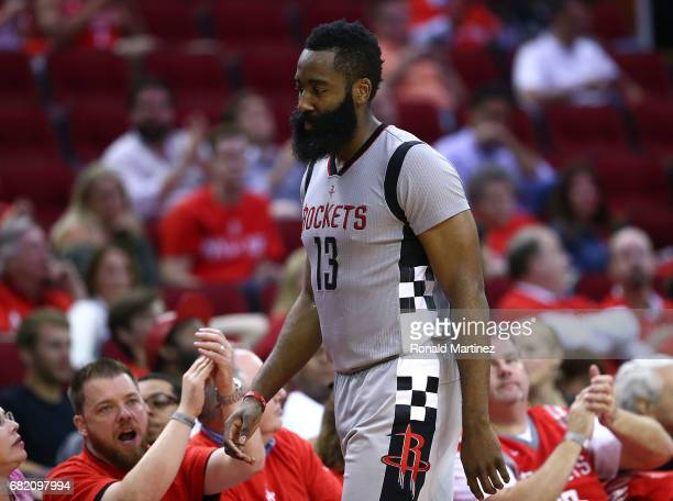 James Harden of the Houston Rockets reacts against the San Antonio Spurs during Game Six of the NBA Western Conference SemiFinals at Toyota Center on...