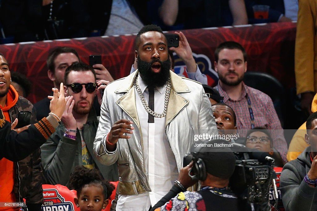 James Harden #13 of the Houston Rockets reacts during the 2017 JBL Three-Point Contest at Smoothie King Center on February 18, 2017 in New Orleans, Louisiana.