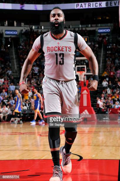James Harden of the Houston Rockets reacts during the game against the Golden State Warriors on March 28 2017 at the Toyota Center in Houston Texas...