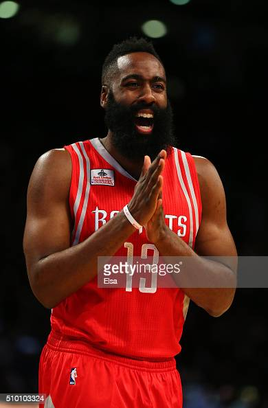James Harden of the Houston Rockets reacts in the Foot Locker ThreePoint Contest during NBA AllStar Weekend 2016 at Air Canada Centre on February 13...