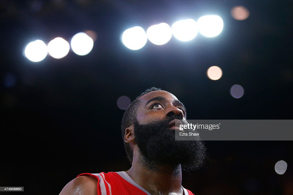<a gi-track='captionPersonalityLinkClicked' href=/galleries/search?phrase=James+Harden&family=editorial&specificpeople=4215938 ng-click='$event.stopPropagation()'>James Harden</a> #13 of the Houston Rockets reacts in the second half against the Golden State Warriors during game five of the Western Conference Finals of the 2015 NBA Playoffs at ORACLE Arena on May 27, 2015 in Oakland, California.