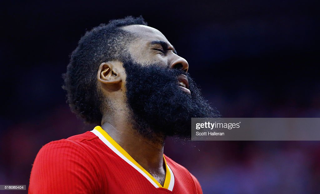 James Harden #13 of the Houston Rockets reacts to a play against the Los Angeles Clippers during their game at the Toyota Center on March 16, 2016 in Houston, Texas.