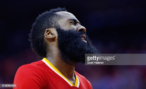 James Harden of the Houston Rockets reacts to a play against the Los Angeles Clippers during their game at the Toyota Center on March 16 2016 in...