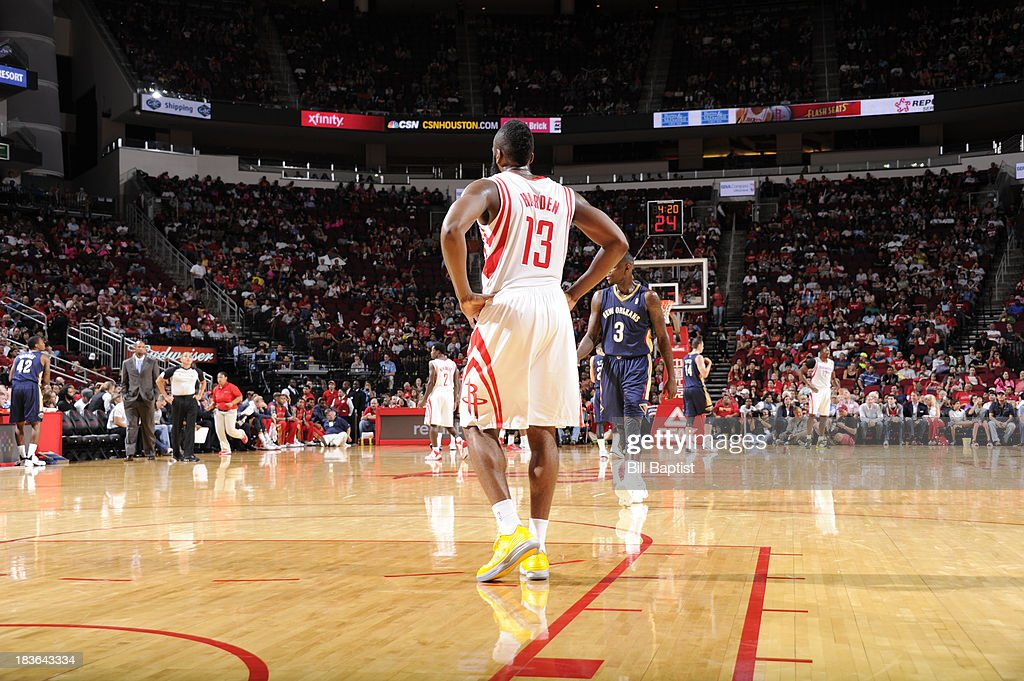 James Harden #13 of the Houston Rockets reacts to a play against the New Orleans Pelicans during the 2013 NBA pre-season game on October 5, 2013 at the Toyota Center in Houston, Texas.