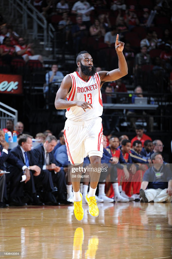 <a gi-track='captionPersonalityLinkClicked' href=/galleries/search?phrase=James+Harden&family=editorial&specificpeople=4215938 ng-click='$event.stopPropagation()'>James Harden</a> #13 of the Houston Rockets reacts to a play during the 2013 NBA pre-season game against the the New Orleans Pelicans on October 5, 2013 at the Toyota Center in Houston, Texas.