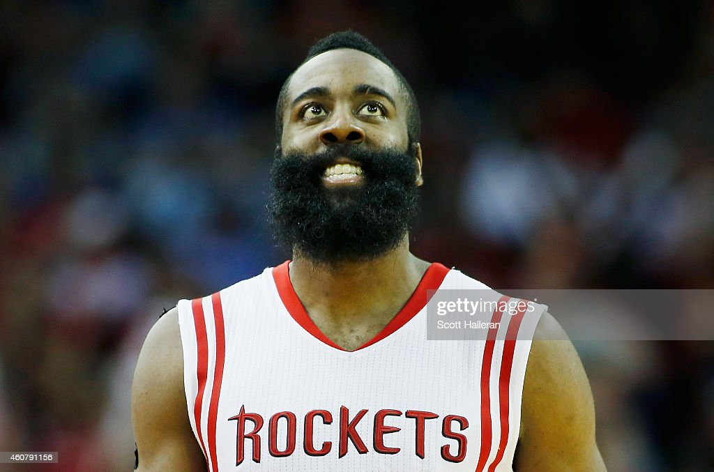 <a gi-track='captionPersonalityLinkClicked' href=/galleries/search?phrase=James+Harden&family=editorial&specificpeople=4215938 ng-click='$event.stopPropagation()'>James Harden</a> #13 of the Houston Rockets reacts to a play on the court during their game against the Portland Trail Blazers at the Toyota Center on December 22, 2014 in Houston, Texas.