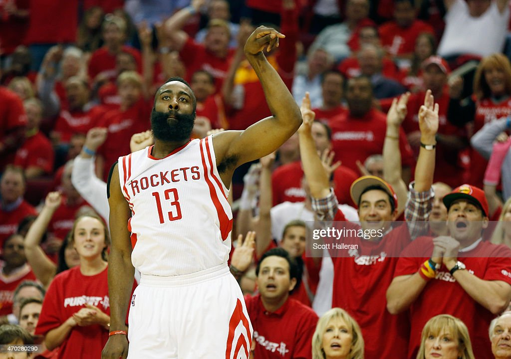 James Harden of the Houston Rockets reacts to a threepoint shot against the Dallas Mavericks during Game One in the Western Conference Quarterfinals...