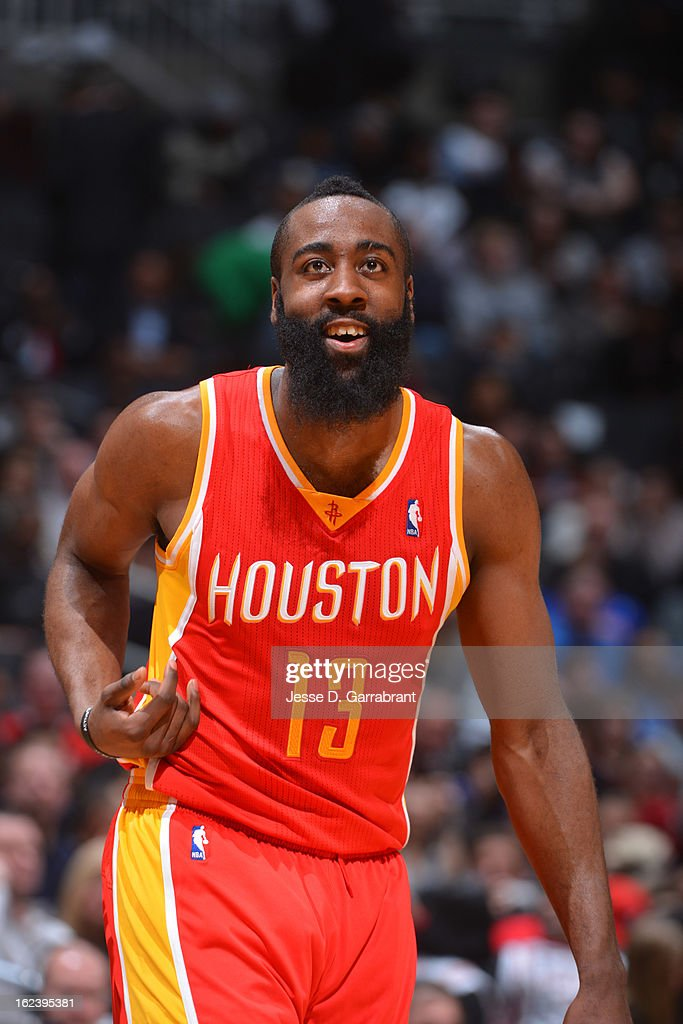 <a gi-track='captionPersonalityLinkClicked' href=/galleries/search?phrase=James+Harden&family=editorial&specificpeople=4215938 ng-click='$event.stopPropagation()'>James Harden</a> #13 of the Houston Rockets rests during the game against the Brooklyn Nets at the Barclays Center on February 22, 2013 in Brooklyn, New York.