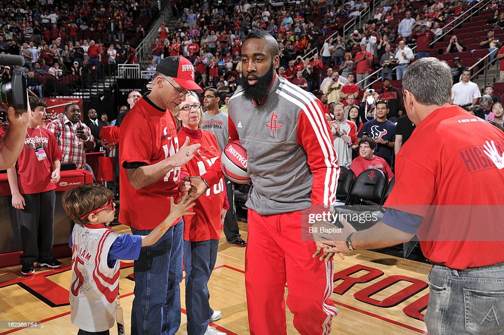 <a gi-track='captionPersonalityLinkClicked' href=/galleries/search?phrase=James+Harden&family=editorial&specificpeople=4215938 ng-click='$event.stopPropagation()'>James Harden</a> #13 of the Houston Rockets runs out before the game against the Brooklyn Nets on January 26, 2013 at the Toyota Center in Houston, Texas.