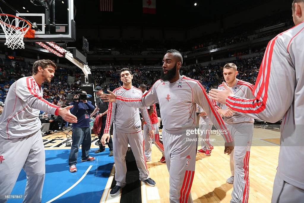 <a gi-track='captionPersonalityLinkClicked' href=/galleries/search?phrase=James+Harden&family=editorial&specificpeople=4215938 ng-click='$event.stopPropagation()'>James Harden</a> #13 of the Houston Rockets runs out before the game against the Minnesota Timberwolves on December 26, 2012 at Target Center in Minneapolis, Minnesota.