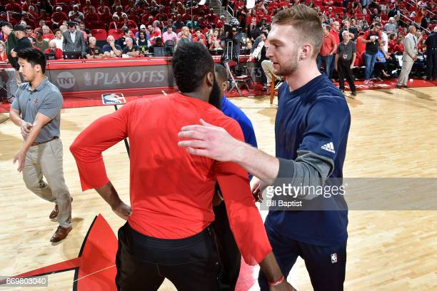 James Harden of the Houston Rockets shakes hands with Domantas Sabonis of the Oklahoma City Thunder before the Western Conference Quarterfinals game...