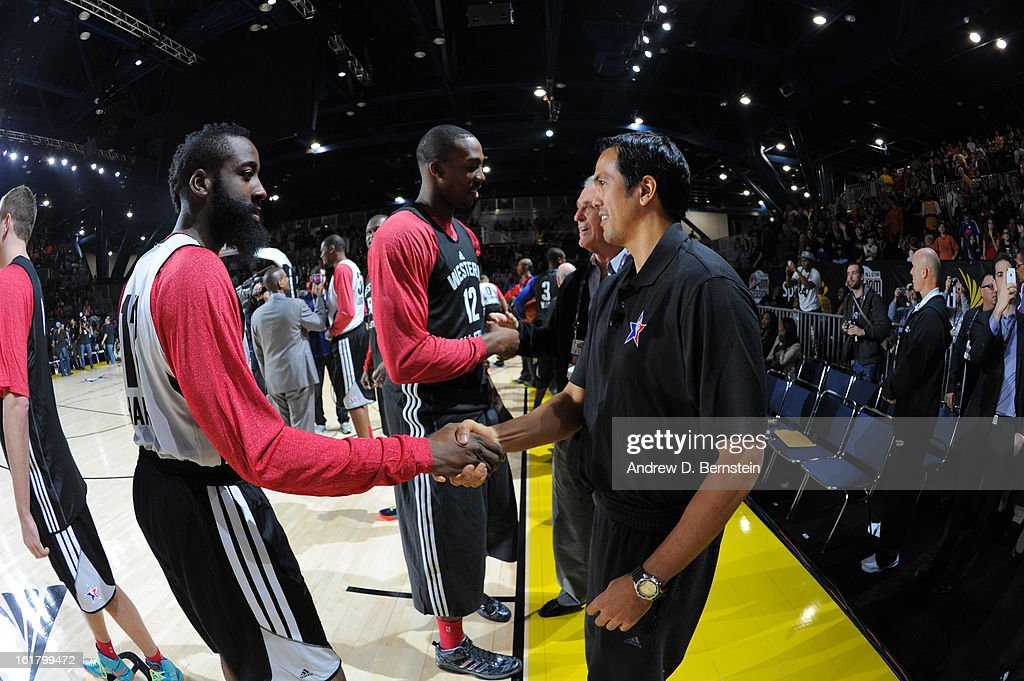 James Harden #13 of the Houston Rockets shakes hands with Erik Spoelstra of the Miami Heat during the NBA All-Star Practice in Sprint Arena at Jam Session at Jam Session during NBA All Star Weekend on February 16, 2013 at the George R. Brown Convention Center in Houston, Texas.