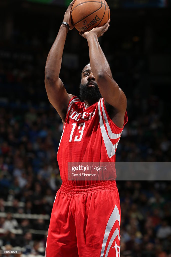 James Harden #13 of the Houston Rockets shoots a foul shot against the Minnesota Timberwolves during the game on January 19, 2013 at Target Center in Minneapolis, Minnesota.