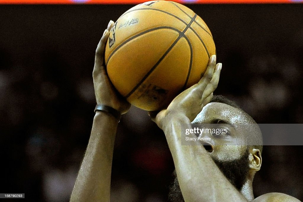 <a gi-track='captionPersonalityLinkClicked' href=/galleries/search?phrase=James+Harden&family=editorial&specificpeople=4215938 ng-click='$event.stopPropagation()'>James Harden</a> #13 of the Houston Rockets shoots a free throw against the San Antonio Spurs during a game at AT&T Center on December 28, 2012 in San Antonio, Texas. San Antonio won the game 122-116.