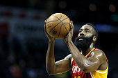 James Harden of the Houston Rockets shoots a free throw against the Charlotte Hornets during their game at Time Warner Cable Arena on April 13 2015...